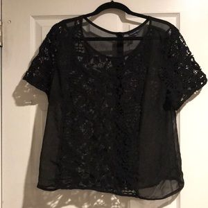 Black lace/ sheer top